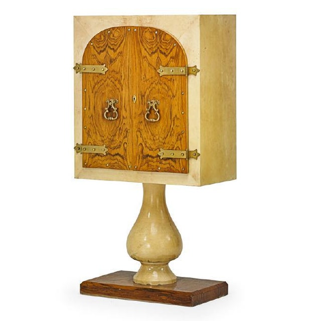 Brown 1970's Illuminated Bar Cabinet by Aldo Tura For Sale - Image 8 of 8