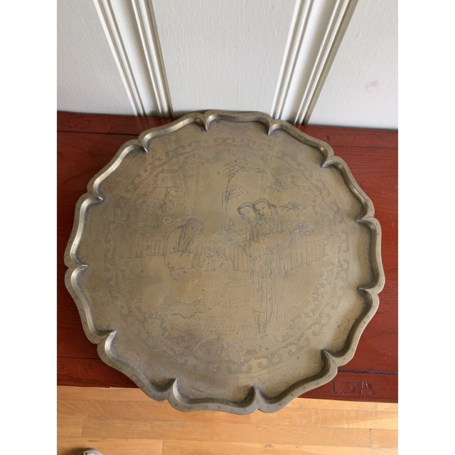 Gold Midcentury Asian Chinoiserie Brass Etched Tray For Sale - Image 8 of 13