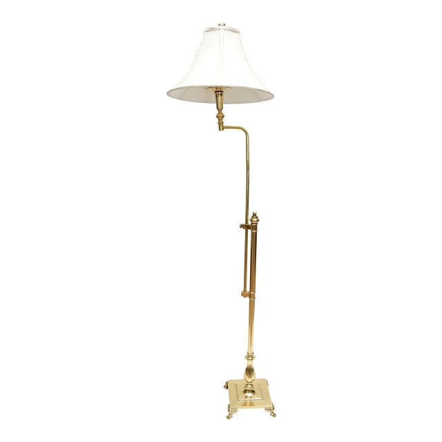Hollywood Regency Tall Swing Arm Brass Floor Lamp with Shade For Sale