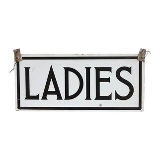 "1930's Porcelain Double Sided ""Ladies"" Sign For Sale"