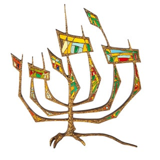 Modern Brutalist Iron Tree of Life Menorah Sculpture For Sale