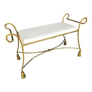 Vintage Italian Gold Gilt Metal Rope Tassel Bench For Sale