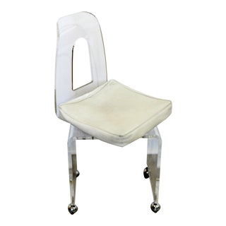 Mid Century Modern Lucite Rolling Stool Bench Vanity Chair Orig Vinyl Rialto 60s For Sale