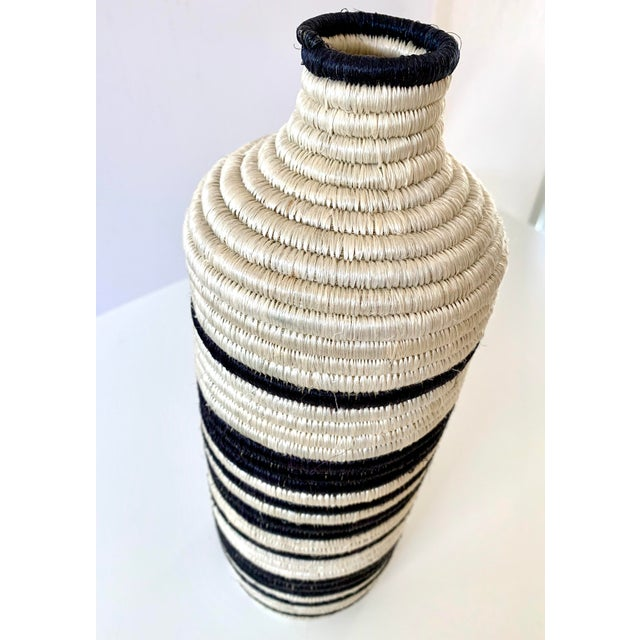 Black and White Striped Woven Vase For Sale - Image 4 of 7