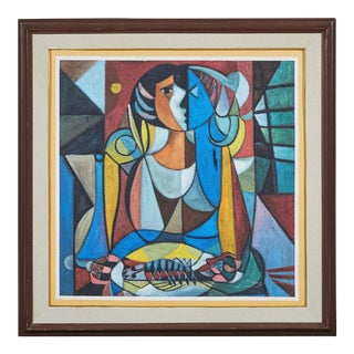 Modern Cubist Portrait Oil Painting on Canvas For Sale
