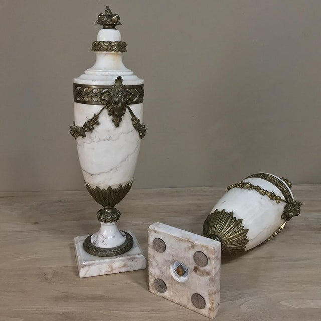 Bronze Pair 19th Century French Louis XVI Marble Cassolettes ~ Mantel Urns With Bronze Mounts For Sale - Image 7 of 12