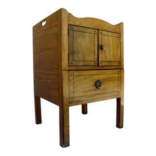 English Mahogany Commode with String Inlay Shaped Gallery Top For Sale