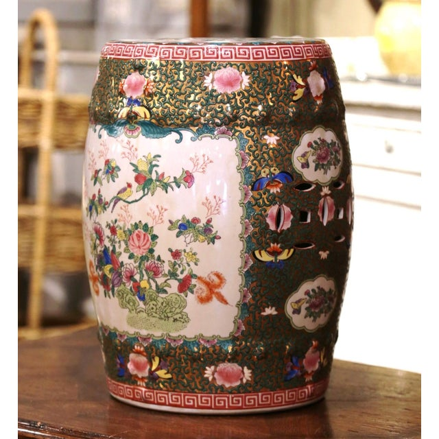 Mid-Century Chinese Porcelain Garden Stool With Bird and Floral Decor For Sale - Image 4 of 13