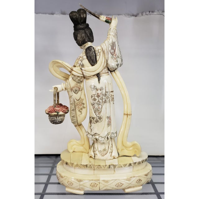 Japanese Early 20th Century Japanese Kuan Yin Performing Blessing Okimono Bovine Bone Carving For Sale - Image 3 of 6