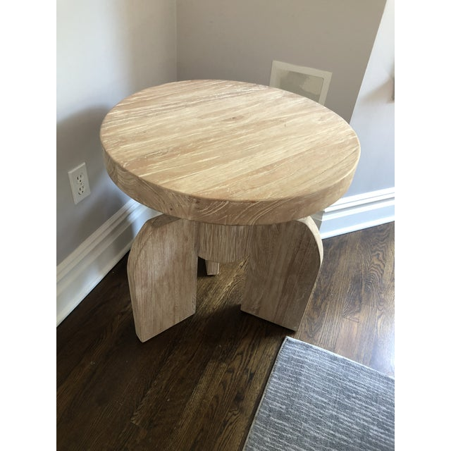 Noir Contemporary Noir Sculptural Distressed Wood Side Table For Sale - Image 4 of 6