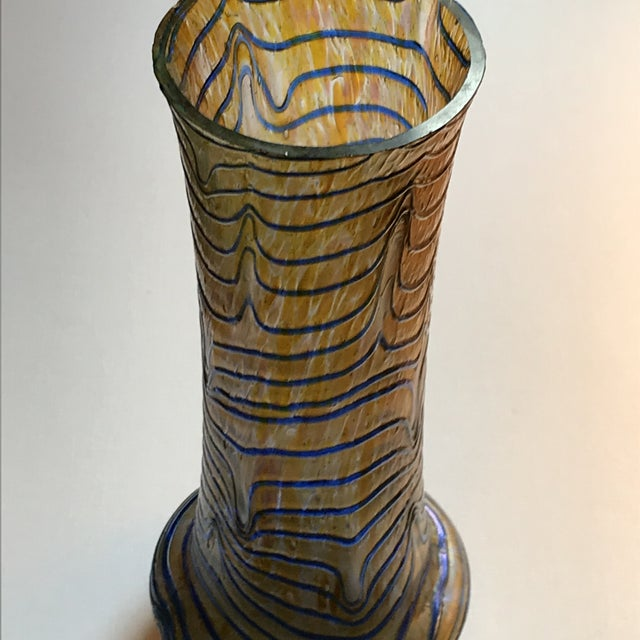Gorgeous Bohemian Art Glass! Attributed to Wilhelm Kralik Sohn but the vase is not signed. Beautiful iridescent gold with...