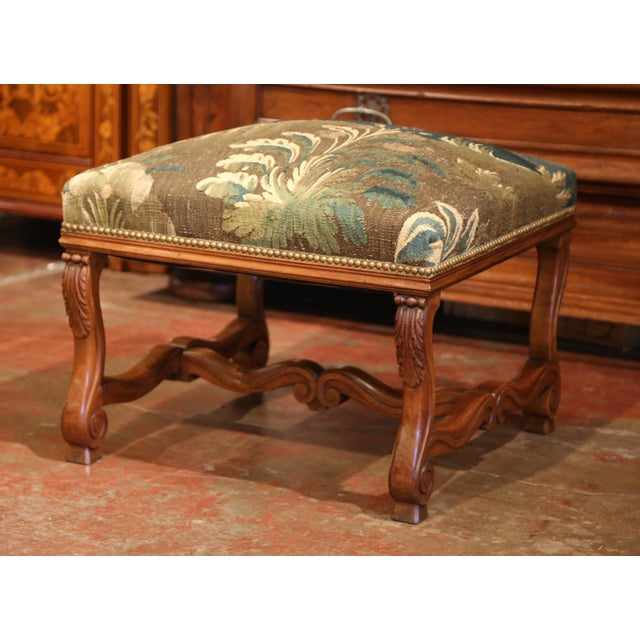 Late 19th Century 19th Century French Louis XIII Carved Walnut Stool and Verdure Aubusson Tapestry For Sale - Image 5 of 11
