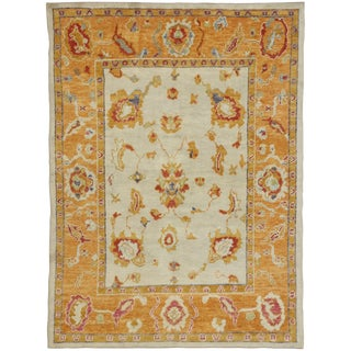 Contemporary Turkish Oushak Rug - 5′ × 6′9″ For Sale