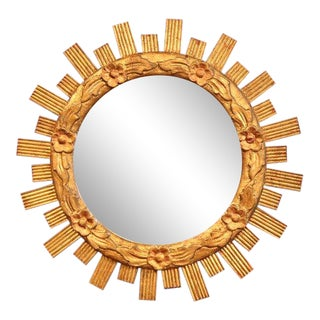 Mid-20th Century French Carved Giltwood Round Sunburst Mirror With Floral Decor For Sale
