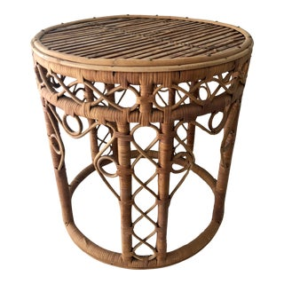 Vintage Natural Bamboo Rattan Drum Stool Table