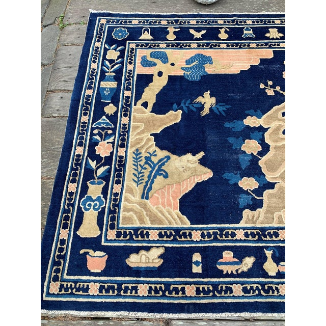 Antique 1910s Blue Chinese Pictorial Rug- 5′ × 8′ For Sale In San Francisco - Image 6 of 13