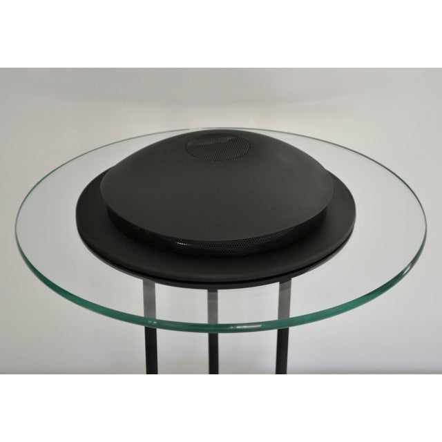 1980s Postmodern Matte Black Table Lamp With Glass Disk For Sale - Image 5 of 10