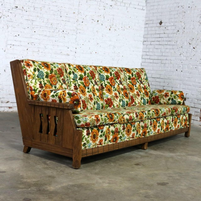 Ranch Oak Western Style Sofa Attributed to A. Brandt Company For Sale - Image 13 of 13