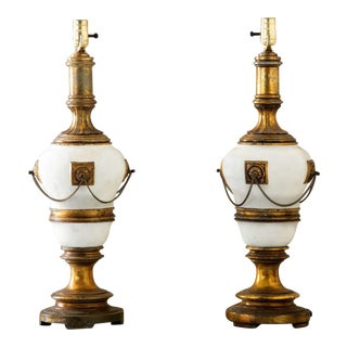 French Neo Classical Cast Bronze Lamps - a Pair