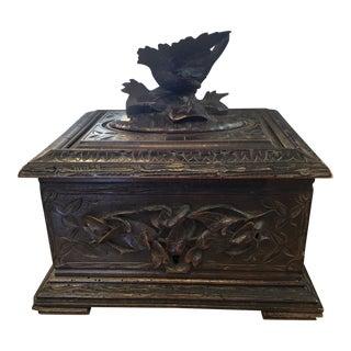 Antique Carved Black Forest Wood Cigar Box For Sale