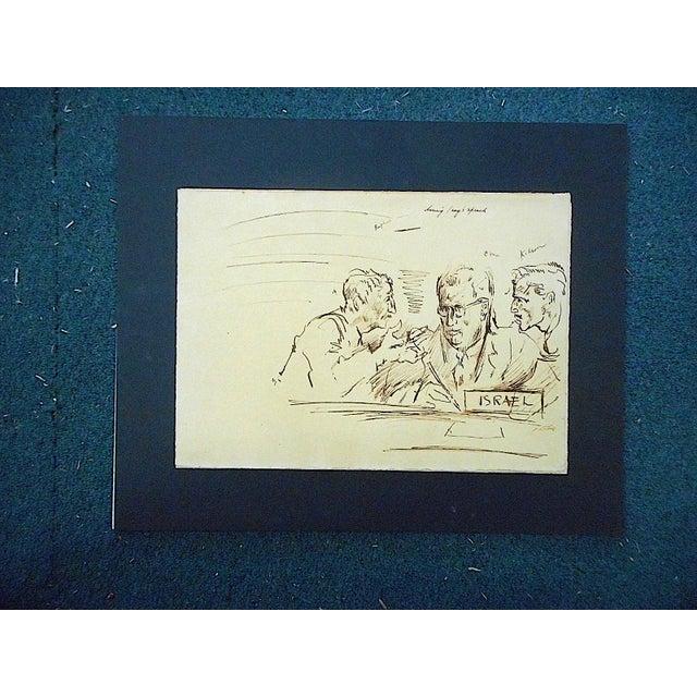 David Fredenthal Original Vintage Mid 20th Century Drawing-D. Fredenthal-Listed American Artist-Judaica-U.N. Suez Crisis For Sale - Image 4 of 5