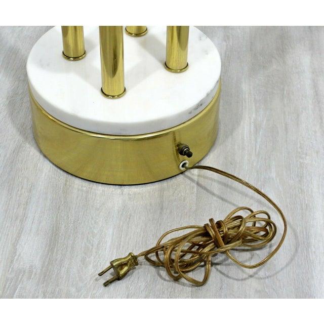 Metal Mid Century Modern Hollywood Regency Deco Brass Marble Floor Lamp Parzinger Attr For Sale - Image 7 of 8