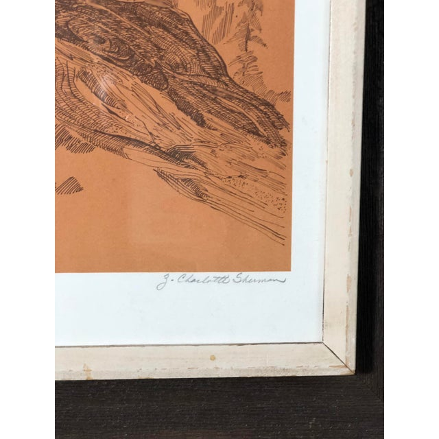 Glass Midcentury Owl Lithograph by Z. Charlotte Sherman For Sale - Image 7 of 8