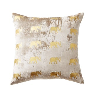 Meru Taupe Velvet Accent Pillow With Elephants