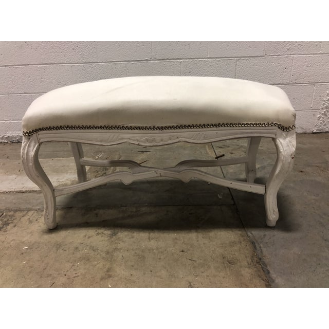 French Vintage Louis XV Upholstered Curved Top Bench With Pedestal For Sale - Image 3 of 5