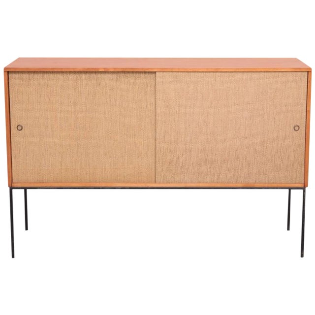Paul McCobb Wrought Iron Base Credenza in Blonde Maple and Cane, USA For Sale