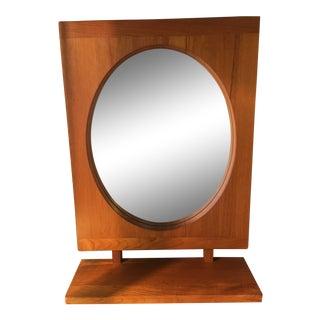 1960s Vintage Pedersen and Hansen Solid Teak Wall Mirror and Shelf For Sale