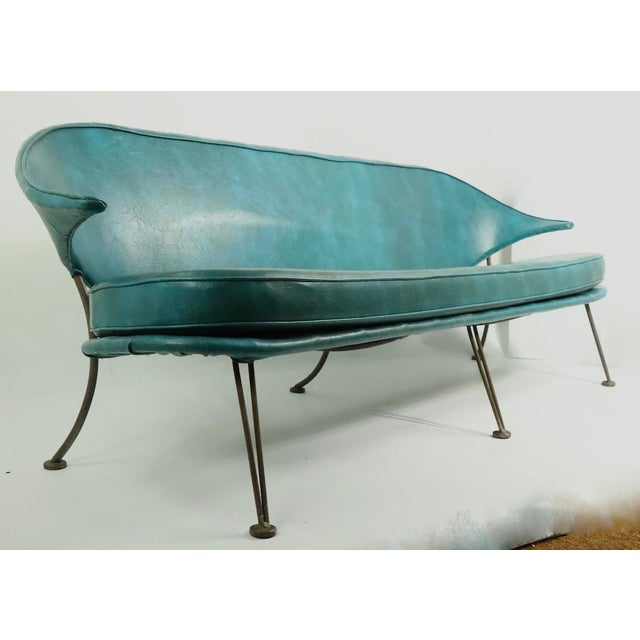 Mid Century Wrought Iron and Vinyl Sofa Settee Loveseat For Sale In New York - Image 6 of 11