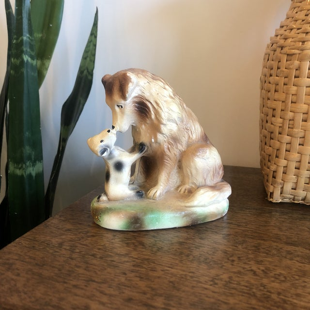 Vintage Ceramic Dog and Puppy For Sale - Image 4 of 6