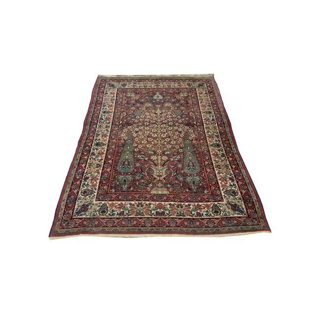 """Red Antique Kerman Handmade Wool Rug - 4'4"""" X 6'6"""" - Size Cat. 4x6 5x7 For Sale - Image 8 of 8"""
