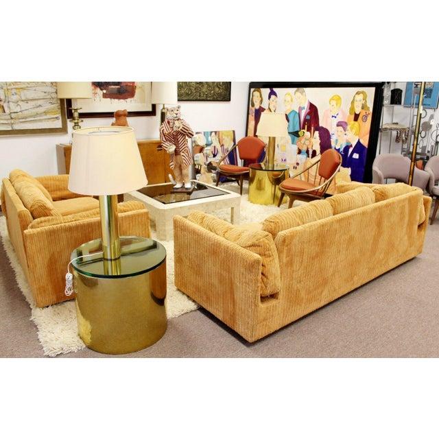 Mid Century Modern Pair Brass Round Drum Side Tables Paul Mayen Habitat 1970s For Sale In Detroit - Image 6 of 7