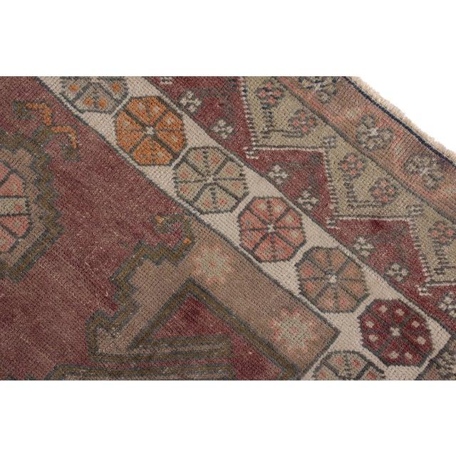 Rug & Kilim Antique Anatolian Rug in Beige-Brown Purple Tribal Geometric Pattern For Sale - Image 4 of 5