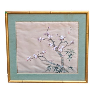 Vintage Chinoiserie Cherry Blossom Painting Framed For Sale