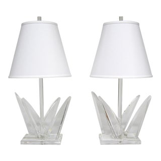 Pair of Lucite Table Lamps by Van Teal For Sale