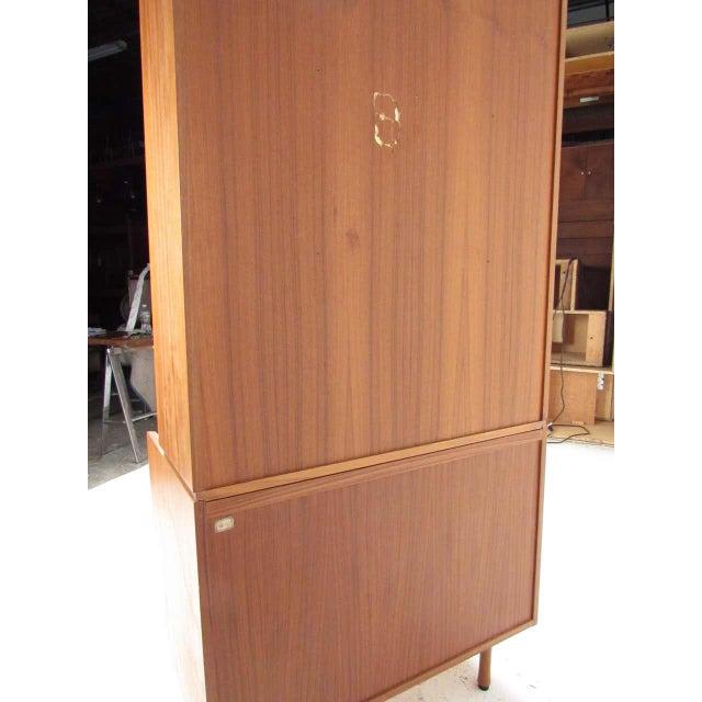 Brown Scandinavian Modern Teak Drop Front Secretary Desk For Sale - Image 8 of 13