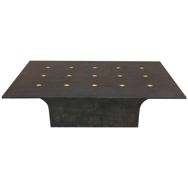 "Gold Stunning Goatskin ""Shagreen"" Lacquered Dining Table For Sale - Image 8 of 8"
