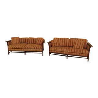 Stickley Mission Oak Arts & Crafts Upholstered Sofas - A Pair For Sale