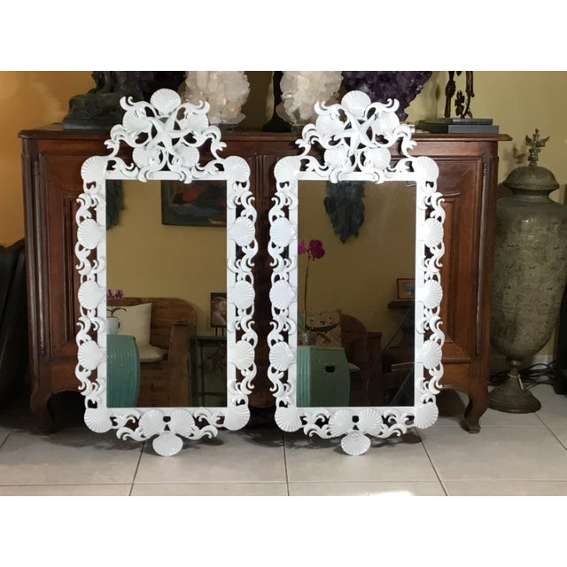 Seashell Iron Mirrors - a Pair For Sale - Image 13 of 13