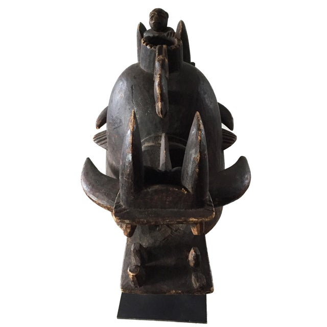 "Rare Old Senufo African Fire Spitter Mask Wanyugo Cote d'Ivoire 23"" H For Sale - Image 4 of 13"