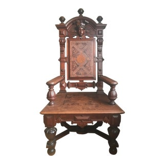 Renaissance Revival Mahogany Throne Chair For Sale