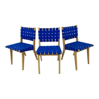 Jens Risom for Knoll Webbed Wood Side Chairs - Set of Three For Sale