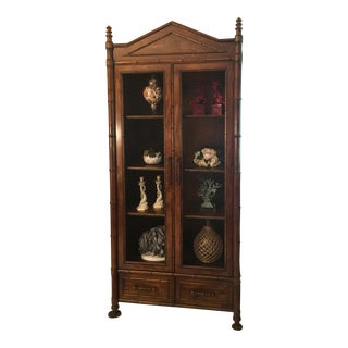 1980s Chinese Century Furniture Faux Bamboo Cabinet/Armoire For Sale