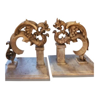 Mythological Marble Architectural Fragments Circa 1850 - A Pair For Sale