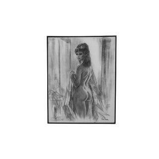 1960's Charcoal on Canvas Nude by Patti Terry For Sale
