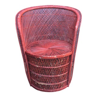 Red Rattan Accent Chair