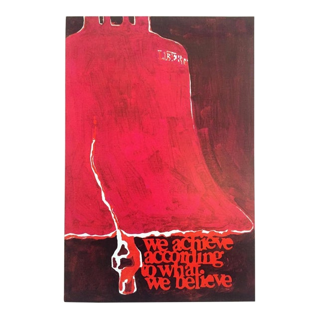 """Rare Vintage 1973 Mid Century Modern Lithograph Print Poster """" We Achieve According to What We Believe """" For Sale"""
